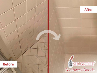 Before and After Image of Grout Sealing in Fort Myers, FL