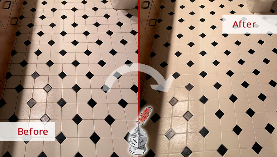 Before and After Picture of a Grout Sealing in Bonita Springs, FL