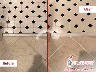 Image of a Bathroom Floor Before and After a Grout Sealing in Bonita Springs, FL