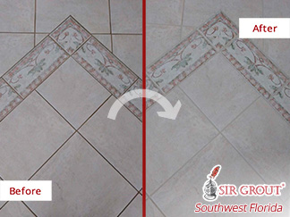 Before and After Image of a Ceramic Foyer Floor After a Grout Cleaning in Naples, FL
