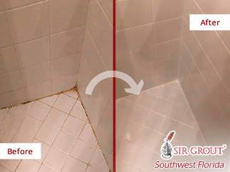 Image of a Shower Floor Before and After Our Caulking Services in Cape Coral, FL