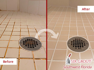 Image of a Shower Before and After Our Caulking Services in Naples, FL