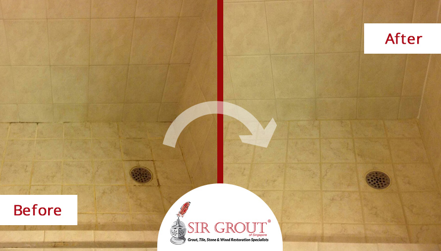 Could a Grout Recoloring Make This Dirty Shower in Naples Look New Again?
