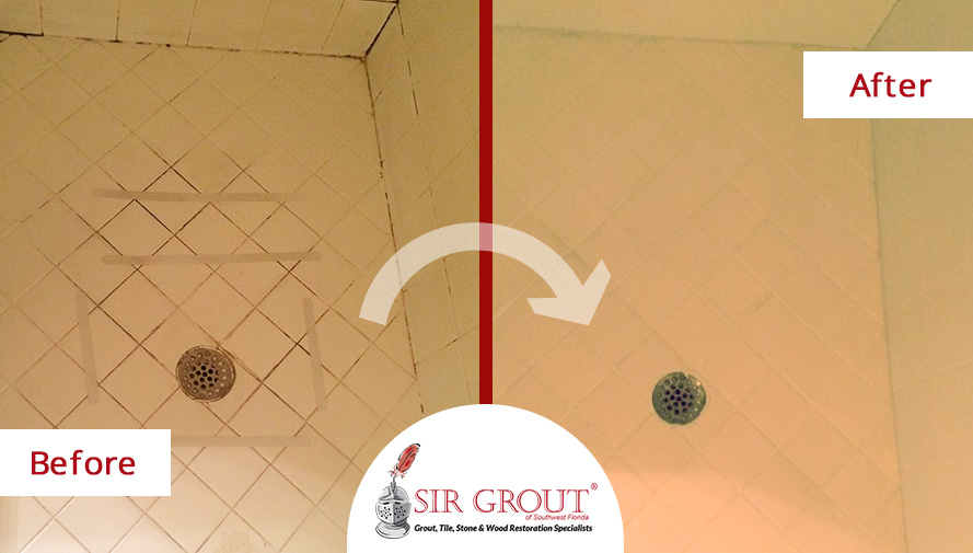 Grout Recoloring Revitalizes Old Shower in Fort Myers Home