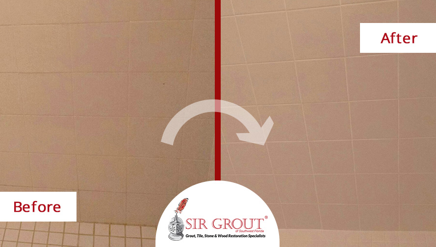 Before & After Shower Grout Sealing in Fort Myers, Florida
