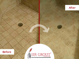 This Shower in Naples, FL Looks Bright and Refreshed After a Grout Recoloring Service