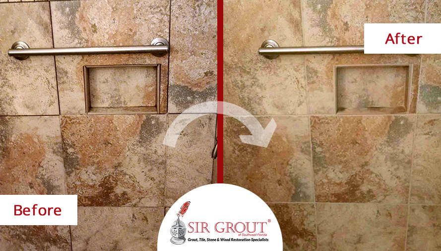 Before and After Picture of a Grout Sealing Service in a Fort Myers Bathroom