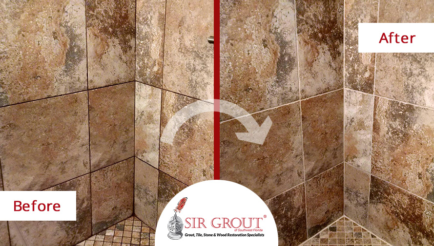 Before and After Picture of a Grout Sealing On a Travertine Bathroom in Fort Myers, FL