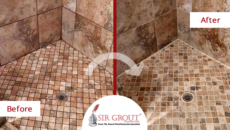 Before and After Picture of a Grout Sealing in Fort Myers