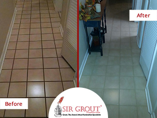 Before and After Picture of a Grout Recoloring Service in Cape Coral, Florida