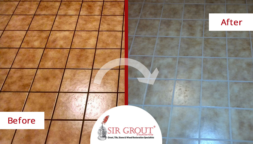 Before and After Picture of a Grout Recoloring in Cape Coral, FL