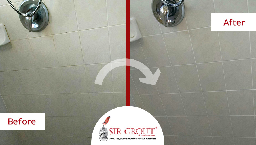 Before and After Picture of a Grout Recoloring in Bonita Springs, FL