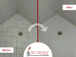 Before and After Picture of a Grout Recoloring Service in Bonita Springs, FL