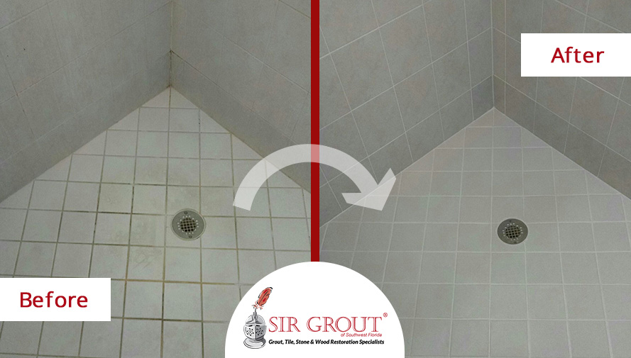 Before and After Picture of a Grout Recoloring Service in Bonita Springs, Florida