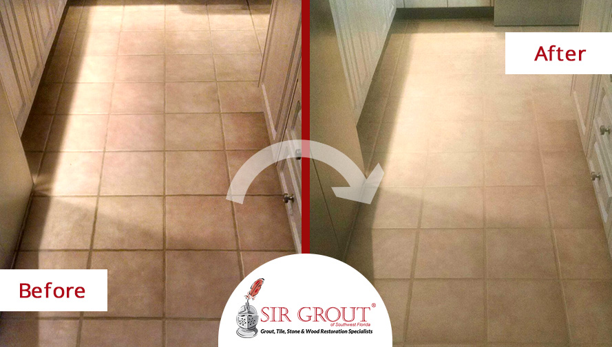 Before and After Picture of a Grout Cleaning Service in Fort Myers, Florida