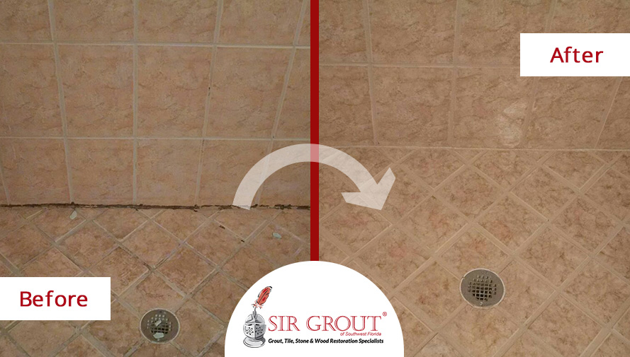 Before and After Picture of a Grout Sealing in Naples, FL