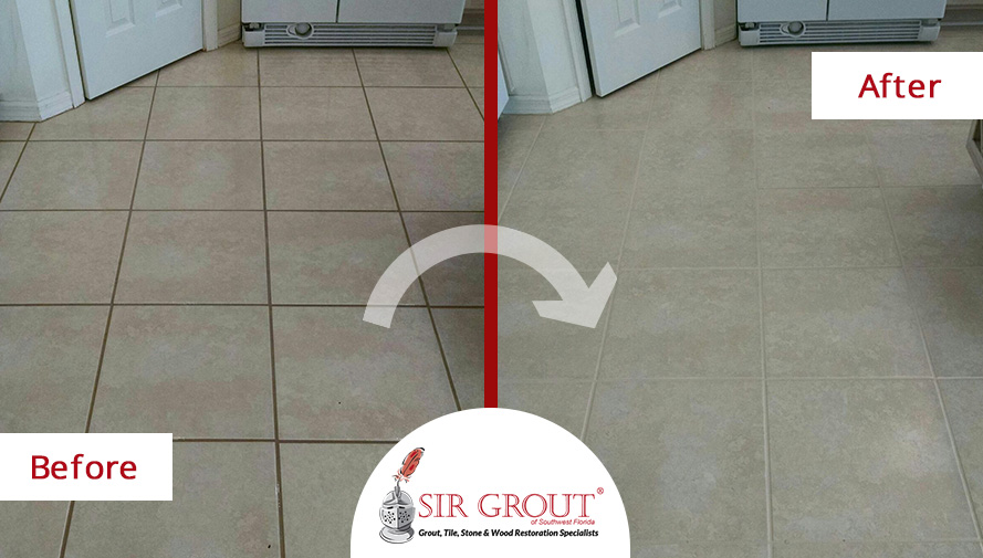 Before and After Picture of a Grout Sealing in Punta Gorda, FL