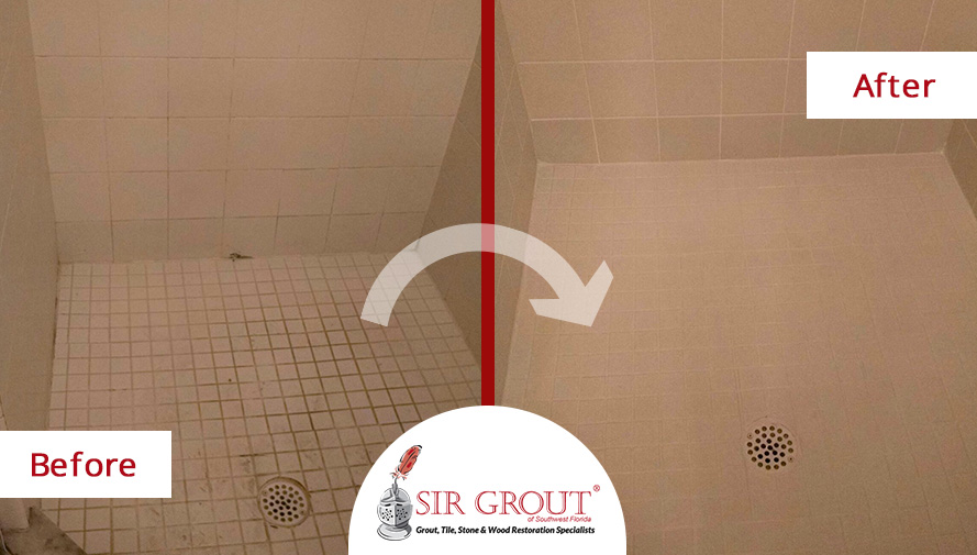 Before and After Picture of Grout Cleaning in Estero, Florida