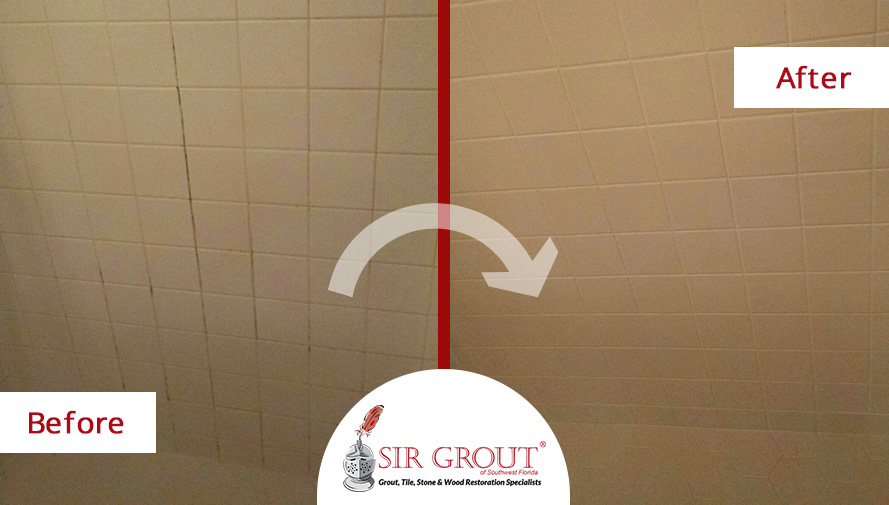 Before and After Picture of an Incredible Cleaning Job Performed by Fort Myer's Tile and Grout Cleaners