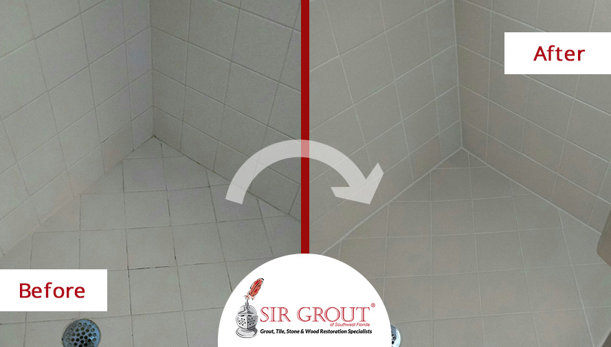 Before and After Picture of a Grout Sealing Service in Cape Coral, Florida