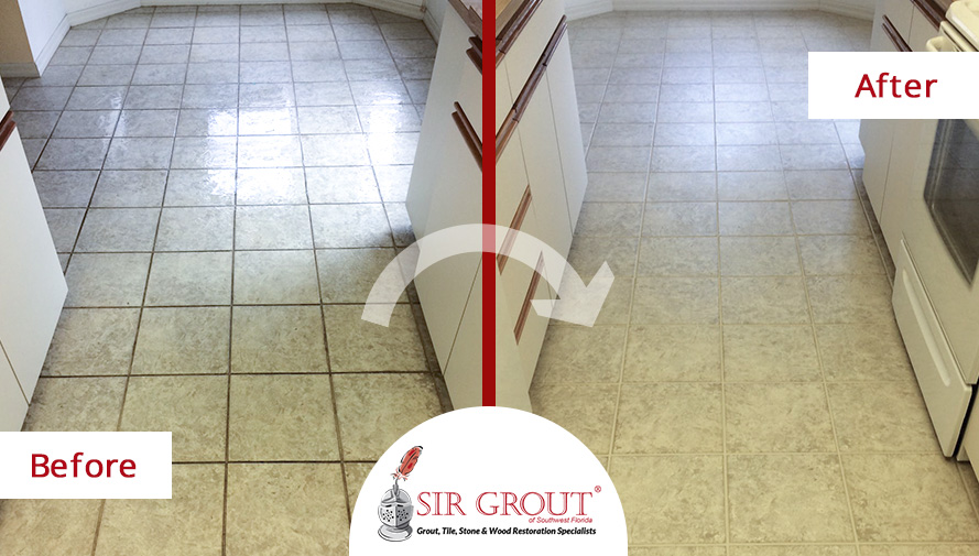 Before and After Picture of a Grout Sealing Service in Fort Myers, FL