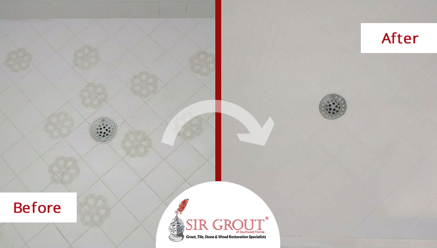 Before and After Picture of a Floor Grout Sealing in Naples, Florida