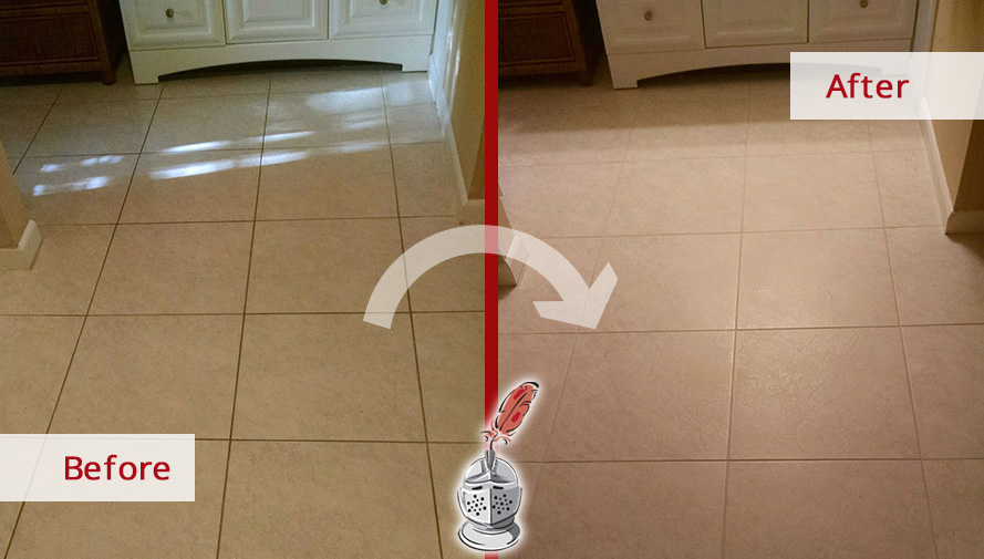 Before and After Picture of Tile Grout Cleaning in Fort Myers