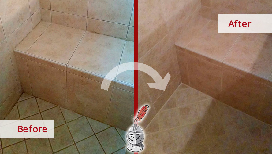 Before and after of This Bathroom Completely Overhauled by Our Team with a Sealing Grout Job in Naples, Florida