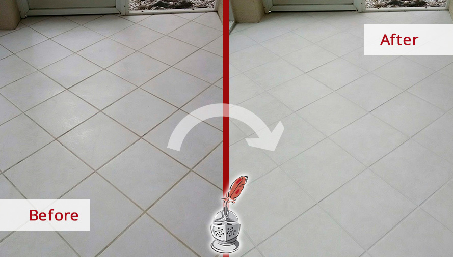 Before and after Picture of a Grout Cleaning Job Done in Naples, Fl the Floor Was Fully Restored in Just One Day