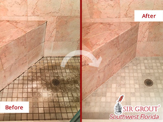Before and after Picture of a Stone Cleaning Job in Sanibel, FL, That Eliminated the Dirt and Mold from This Marble Master Shower
