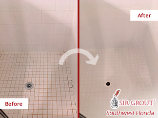 Before and after Picture of How This Moldy Shower Was Restored after a Grout Cleaning Job in Naples, FL