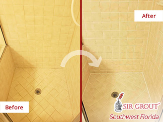 before and after Picture of This Bathroom after a Grout Sealing Service in Naples, Florida