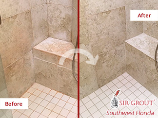 Before and after Picture of This Bathroom in Fort Myers, Florida after a Grout Cleaning Service