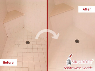 Before and after Picture of This Grout Cleaning Job in Fort Myers, Fl, Restoring This Shower