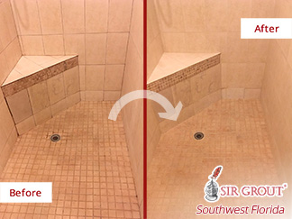 Before and after Picture of This Shower's Grout Cleaning Job Done in Fort Myers, Florida