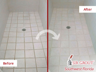 Before and after Picture of How This Grout Cleaning Job in Cape Coral, Florida, Helped This Shower Look Spotless