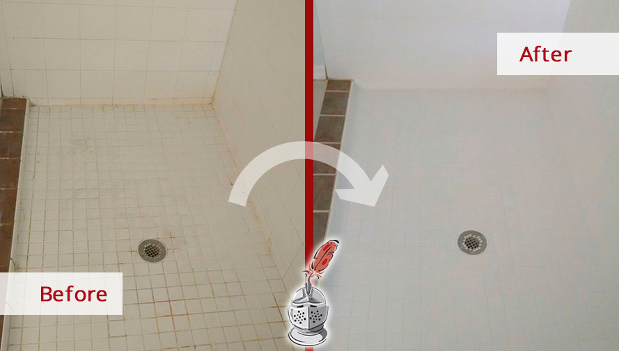 Before and after Picture of How Our Team of Tile and Grout Cleaners Renewed This Shower in Fort Myers, Florida