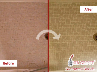 Before and after Picture of A Grout Recoloring Job Done to This Shower Leaving It Looking Renewed in Fort Myers, Florida
