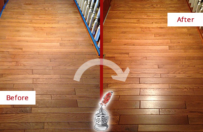Before and After Picture of a Pine Ridge Wood Sand Free Refinishing Service on a Dull Hallway