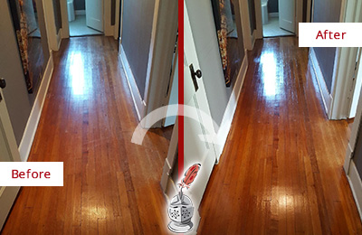 Before and After Picture of a Pine Ridge Wood Sand Free Refinishing Service on a Floor to Eliminate Scratches