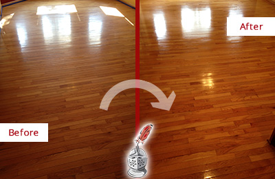 Before and After Picture of a Pine Ridge Wood Sand Free Refinishing Service on a Room Floor to Remove Scratches