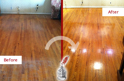 Before and After Picture of a Pine Ridge Wood Sand Free Refinishing Service on a Stained Floor