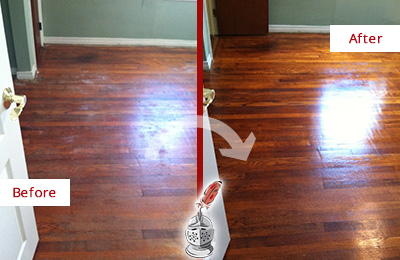 Before and After Picture of a Pine Ridge Wood Sand Free Refinishing Service on a Dull Floor to Remove Stains