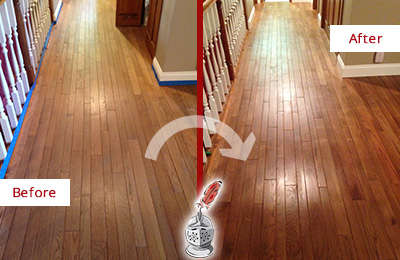 Before and After Picture of a Pine Ridge Wood Sand Free Refinishing Service on a Worn Out Floor