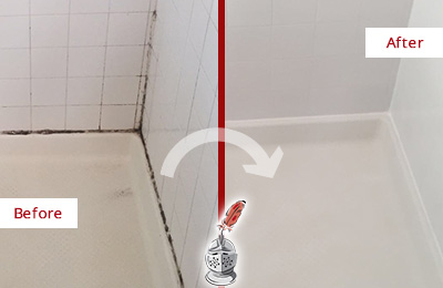 Picture of a White Shower with Moldy Grout and Caulking Before and After a Tile Recaulking Service