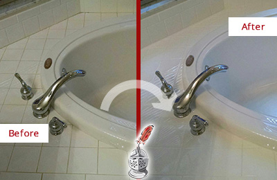 Before and After Picture of Tub Caulking on the Joints of this Bathtub