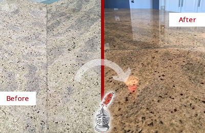 Before and After Picture of a Granite Kitchen Countertop Cleaned and Sealed to Remove Scratches