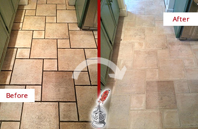 Before and After Picture of Tumbled Travertine Floor Cleaned to Remove Embedded Dirt