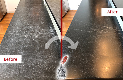 Picture of Black Worn-Out Stone Countertop Before and After Honing