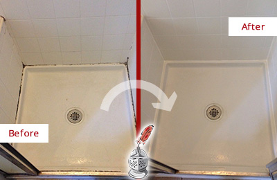 Before and After of a Shower Grout Sealing Service